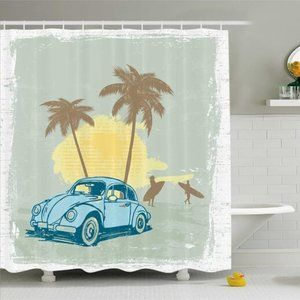 Shower Curtain Tropical Vacation Vintage Car Print